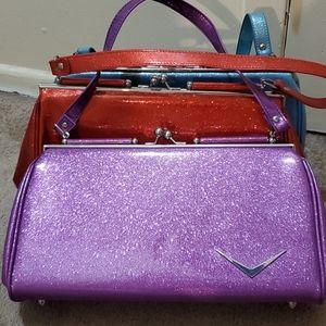 Lux De Ville purple glitter sparkle purse bag